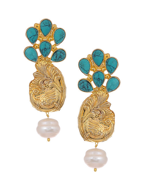 Turquoise and Pearl Gold Tone Silver Earrings