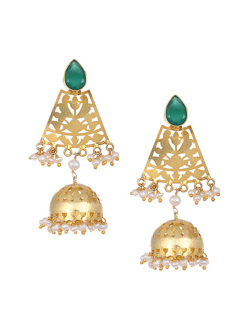 Green Onyx Gold Tone Silver Jhumkis with Pearls