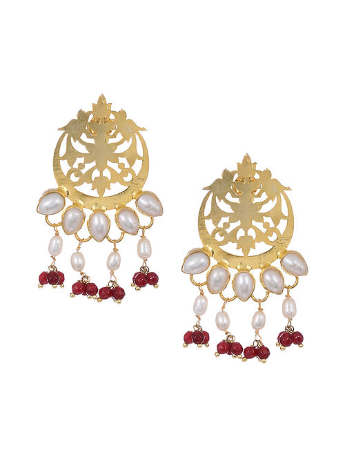 Red Onyx Gold Tone Silver Earrings with Pearls