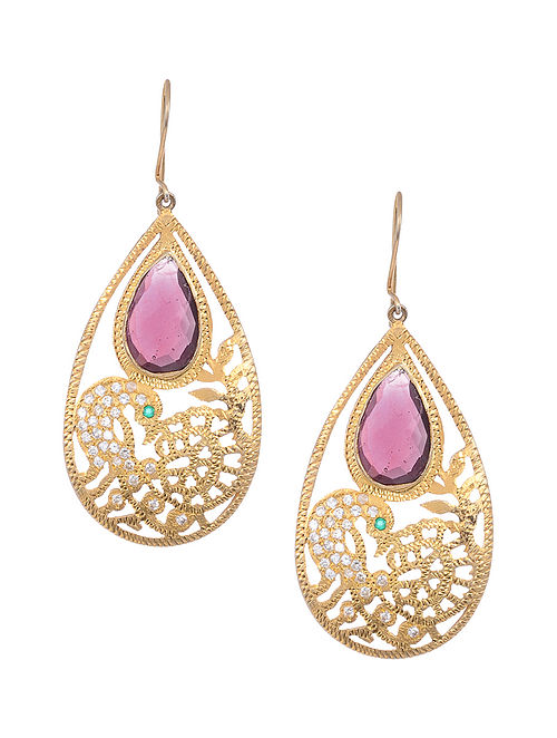 Pink Gold Tone Silver Earrings