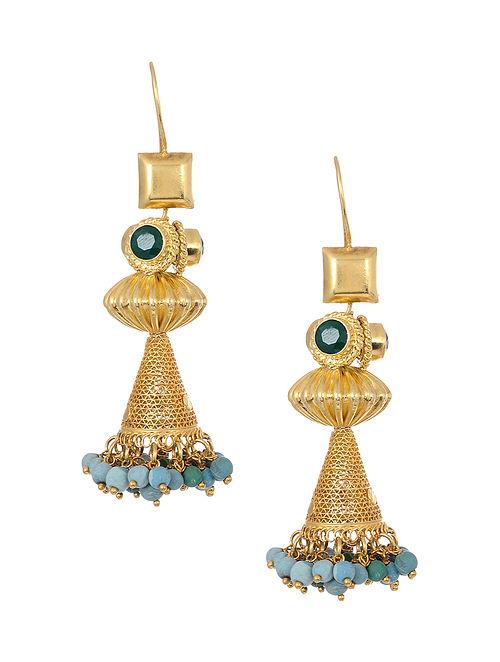 Blue Green Gold Tone Silver Earrings