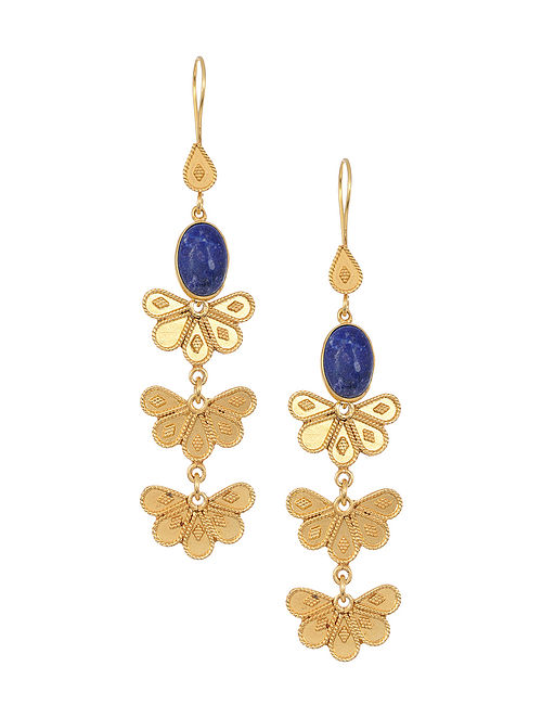 Lapis Lazuli Gold Tone Silver Earrings