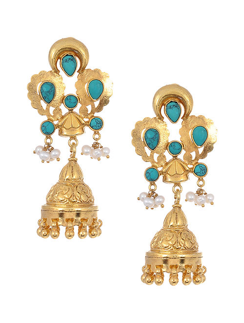 Turquoise and Pearl Gold Tone Silver Jhumkis
