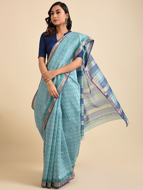 Blue Block Printed Maheshwari Cotton Saree with Zari