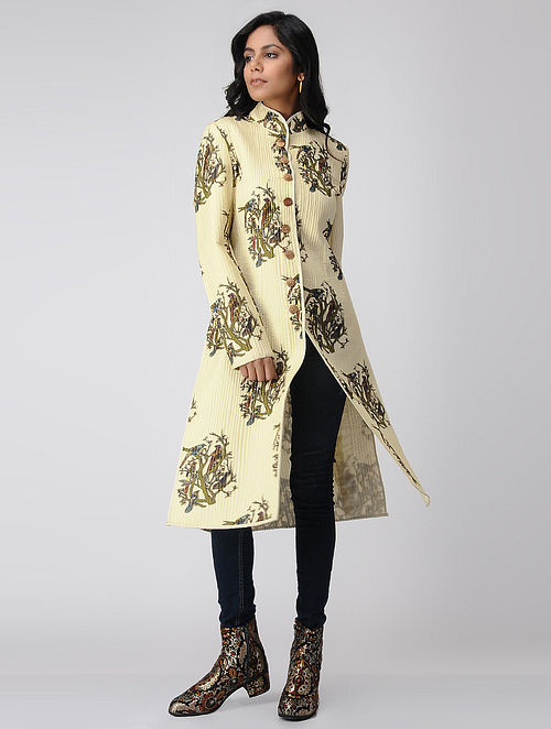 Ivory Quilted Printed Silk Jacket