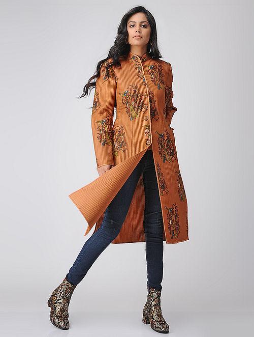 Brown Quilted Printed Silk Jacket