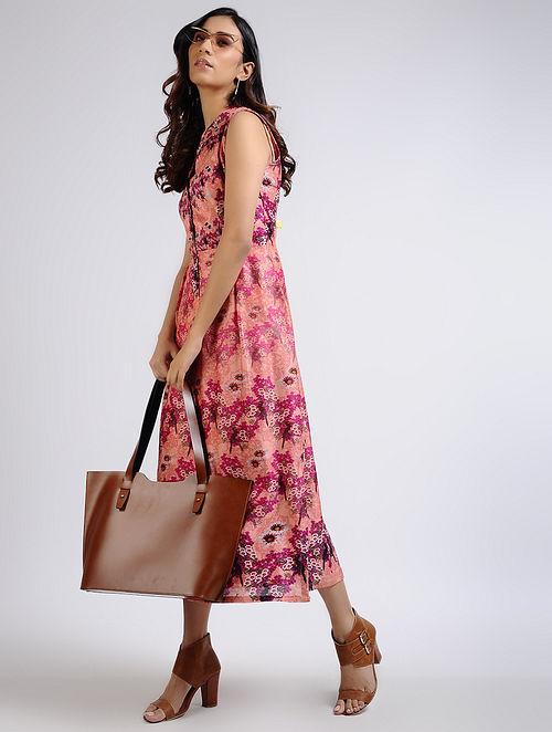 Peach Printed Chanderi Dress