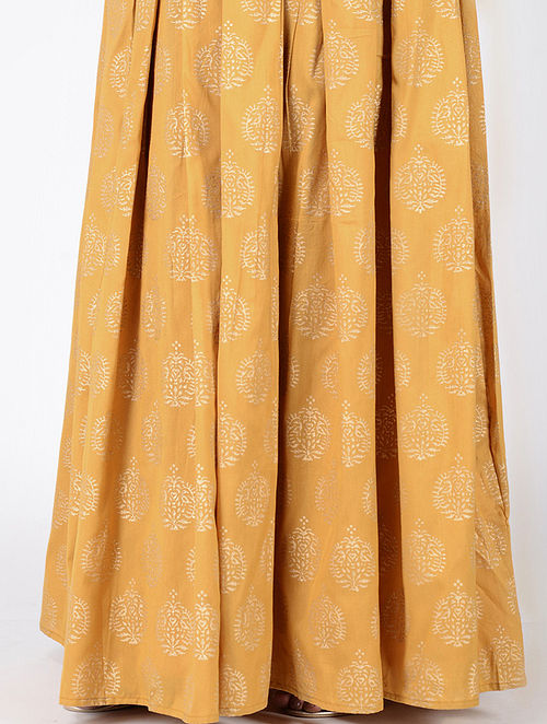 473d7cbeebd0d0 Buy Yellow Block-printed Box-pleated Cotton Silk Skirt Online at ...