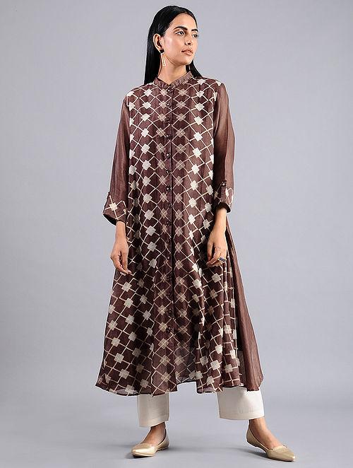 Brown Shibori Chanderi Jacket with Slip (Set of 2)