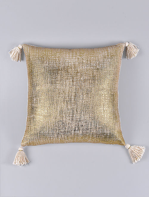 Mason Cream and Gold Cotton Cushion Cover (15.5in x 15.5in)