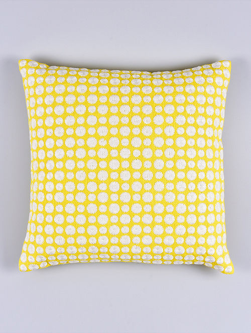 Daisy Yellow Cotton Cushion Cover (15.5in x 15.5in)