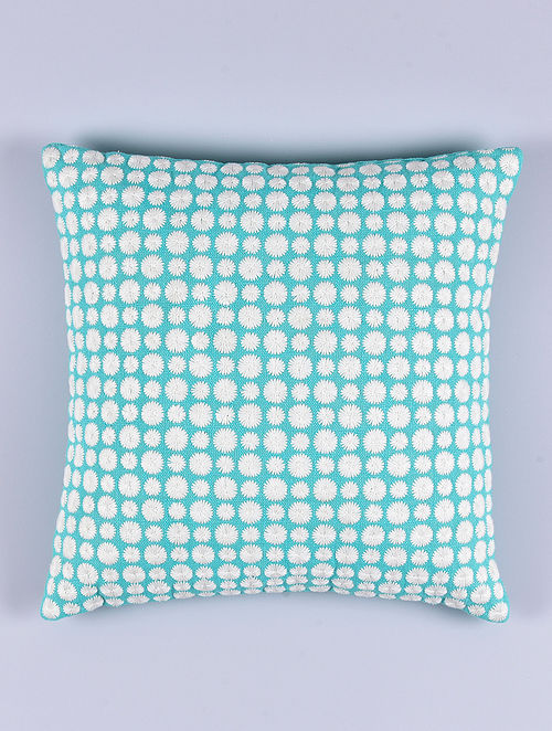 Daisy Turquoise Cotton Cushion Cover (15.5in x 15.5in)