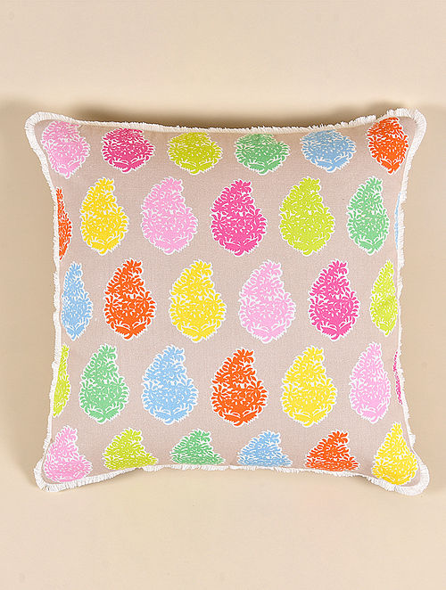Rang Multicolor Cotton and Linen Cushion Cover (15.5in x 15.5in)