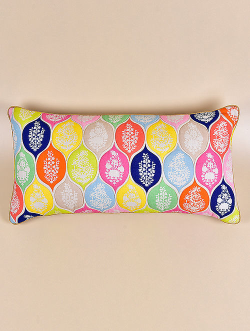 Amer Multicolor Cotton and Linen Cushion Cover (23in x 12in)