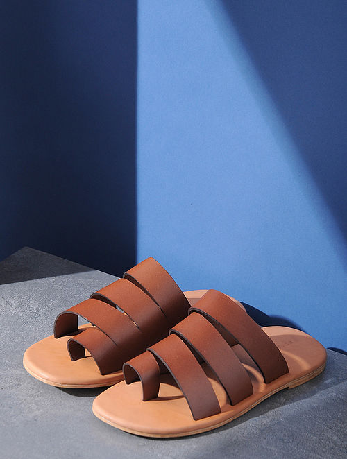 Tan Handcrafted Multi-Strap Leather Flats for Men