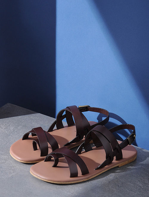 Burgandy Handcrafted Criss-Cross Strap Leather Flats for Men