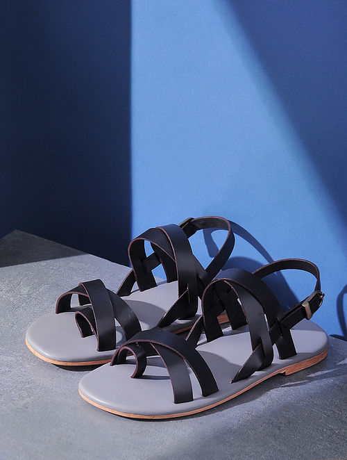 Black Handcrafted Criss-Cross Strap Leather Flats for Men