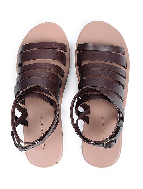 Burgandy Handcrafted Leather Flats for Women