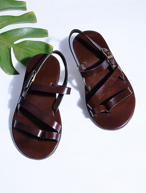 Brown Hand-crafted Multi-strap Leather Flats for Men