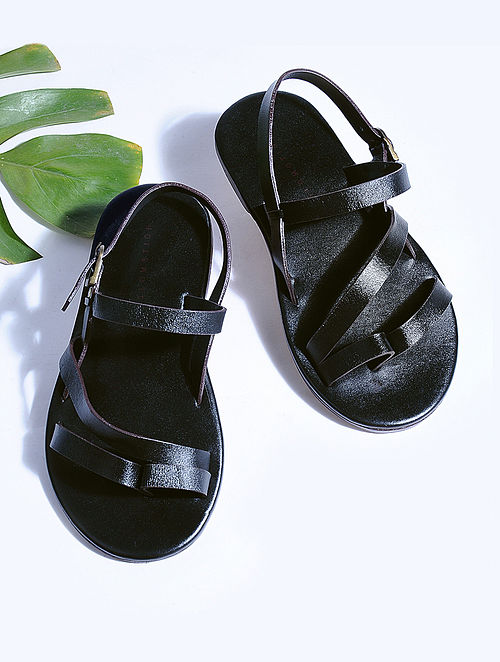 Black Hand-crafted Multi-strap Leather Flats for Men