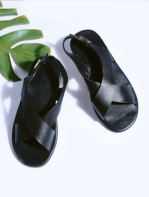 Black Hand-crafted Leather Flats for Men
