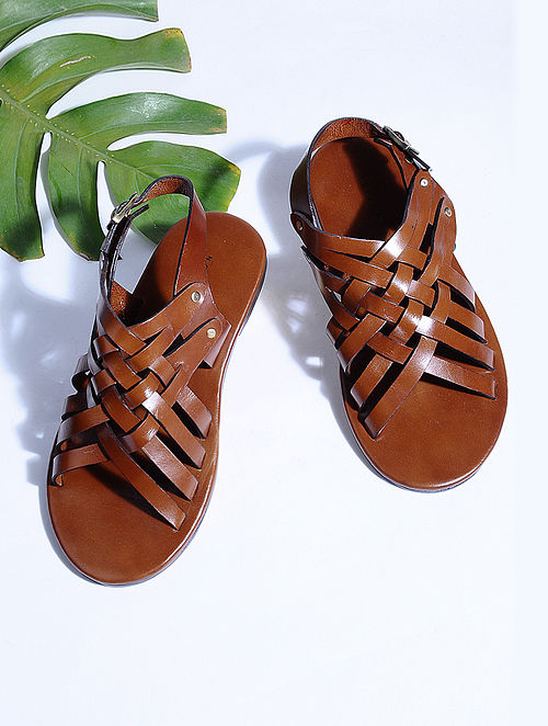 Tan Hand-crafted Criss-cross Leather Flats for Men
