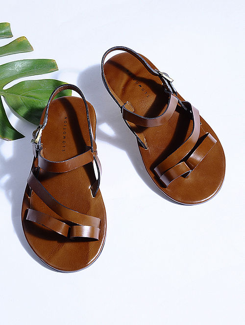 Tan Hand-crafted Multi-strap Leather Flats for Men