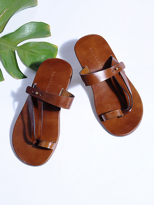 Tan Hand-crafted Leather Flats for Men