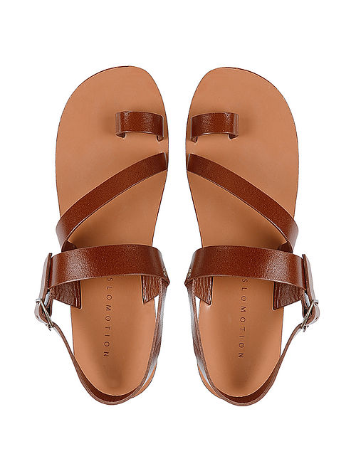 Tan Hand-crafted Peep-toe Leather Flats for Women