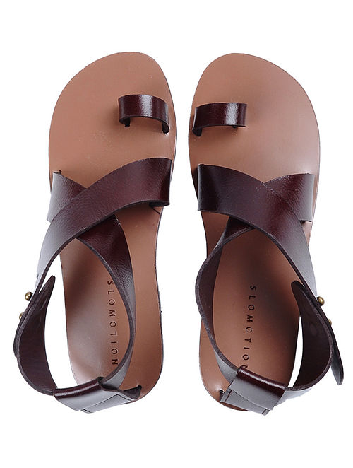 Brown Handcrafted Ankle-strap Leather Flats for Women