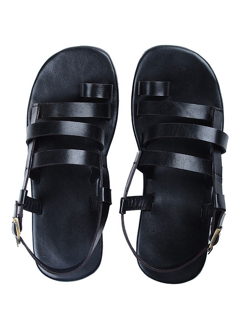 Black Handcrafted Multi-strap Leather Flats for Men