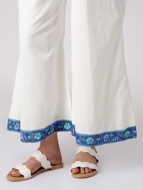 White-Blue Block-printed Elasticated Waist Cotton Palazzos