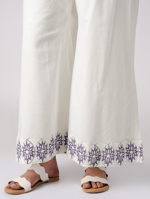 White-Purple Block-printed Elasticated Waist Cotton Palazzos