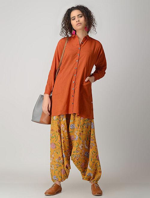 Orange Cotton Long Shirt with Pockets