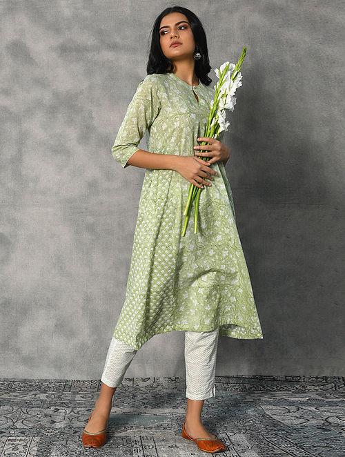 CHITRAPUSHPI - Green Block Printed Cotton Kurta