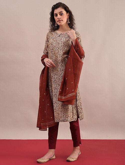 ANIKA - Rust Beige Bagru Printed Silk Cotton Kurta with Khari