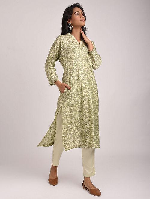 AMMANYA - Green Block Printed Silk Cotton Kurta with Khari