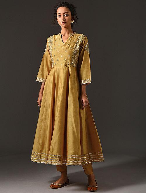 SHULINI - Mustard Silk Cotton Kalidar Kurta with Hand Embroidered Gota Patti