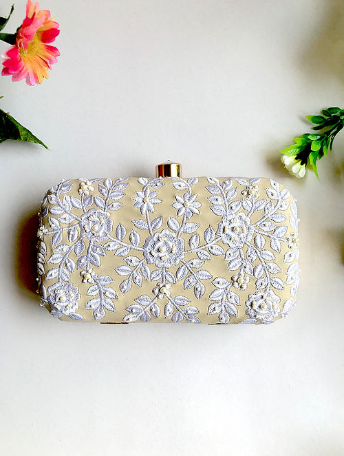 Cream-White Handcrafted Embroidered Clutch with Pearl Beads