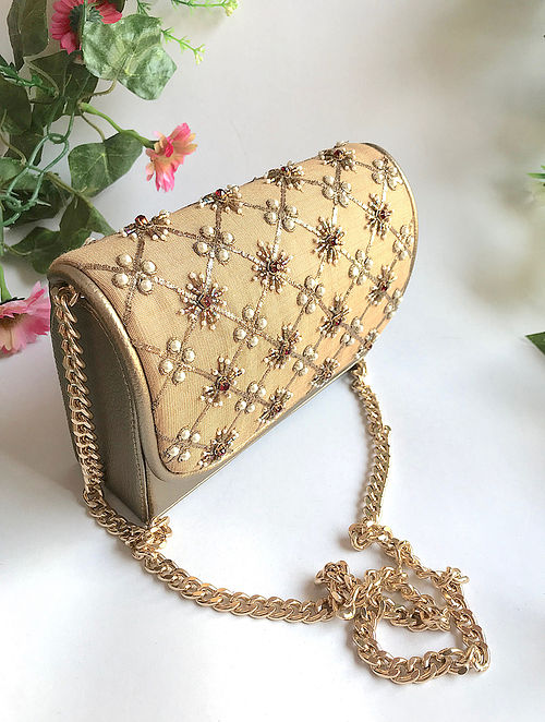 Gold Handcrafted Embroidered Sling with Pearl Beads