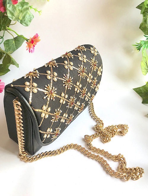 Black-Gold Handcrafted Embroidered Sling with Pearl Beads
