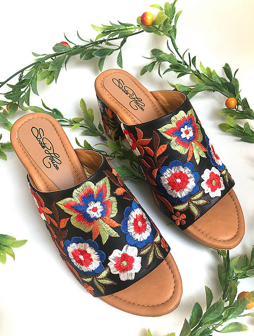 Black-Multicolored Hand-Embroidered Leather Block Heels