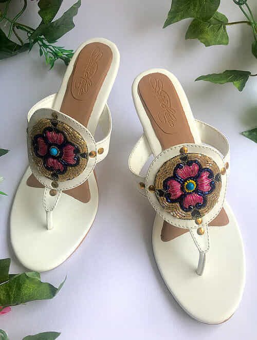 White Embroidered Vegan Leather Heels