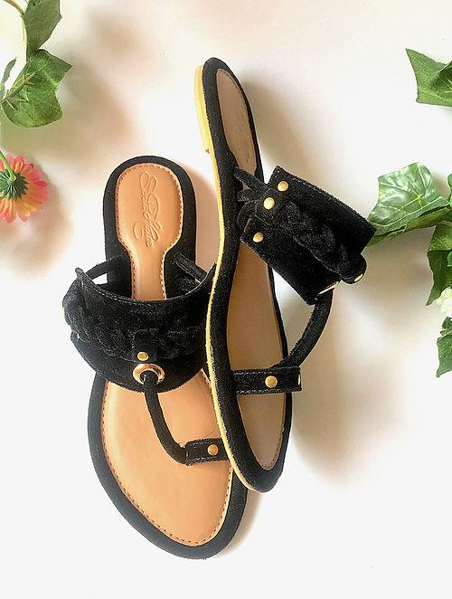 Black Handcrafted Velvet Kohlapuris