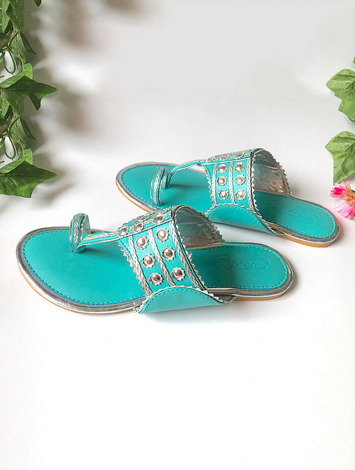 Turquoise Silver Vegan Leather Kolhapuri Flats