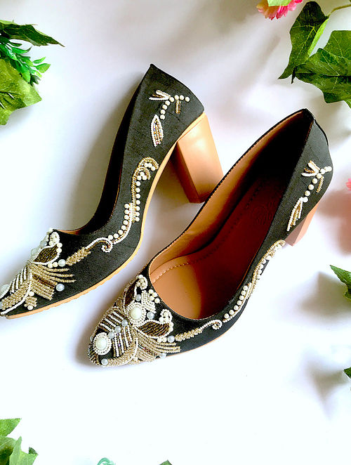 Black-White Silk and Leather Block Heels with Cut Dana Work