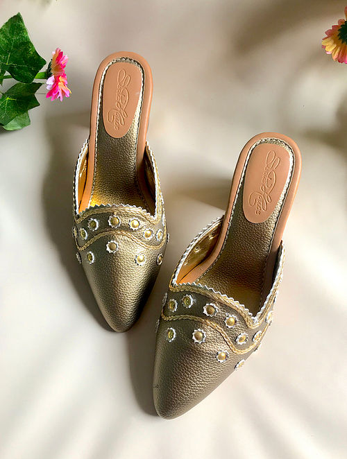 Golden Metallic Leather Block Heels
