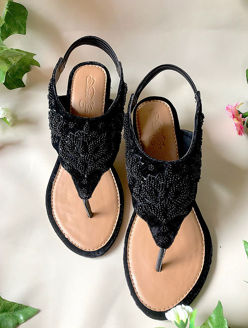 Black Handcrafted Embroidered Velvet Block Heels