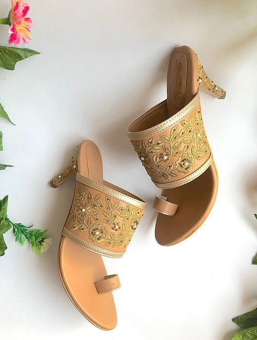 Nude-Gold Handcrafted Embroidered Heels with Pearl Beads