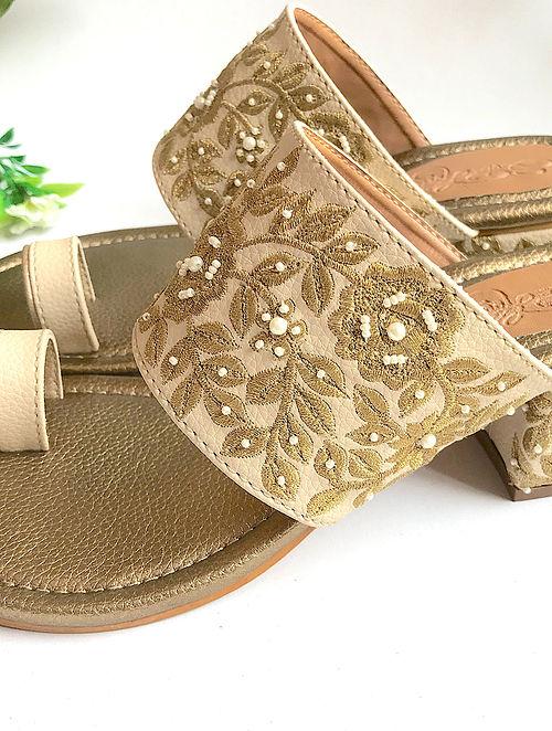 Cream-Gold Handcrafted Zari Embroidered Kolhapuri Block Heels with Pearl Beads